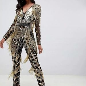 nwt AMAZING ASOS gold sequin jumpsuit SO HEAVY!